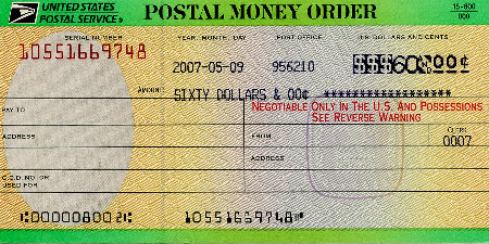 postal money order sample